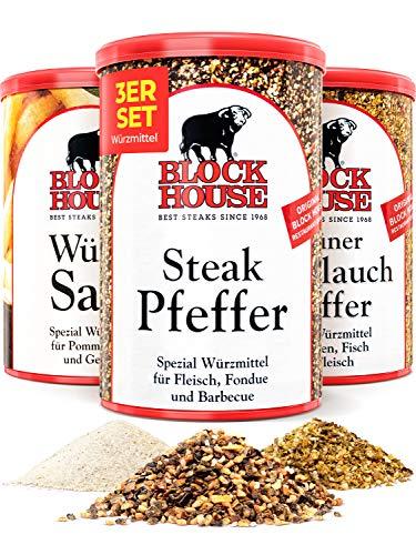 Block House Gewürze zum Grillen Grillset - Grüner Knoblauch Pfeffer 200g Würzsalz 500g Steak Pfeffer 200g