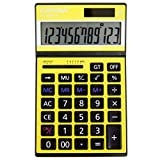 Standard Function Calculator, 12-Digit, Catiga, Colorful Neon Design (Yellow)