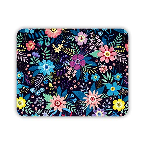 Designer Desk Mouse Pad, Cute Mouse Pad for Women, Office, Work & Home Computer Accessory, Beautiful & Vibrant Floral Design, Non Slip (Wild Flowers, Rectangle)