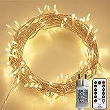 Lichterkette Außen, 12M 120 LED Lichterkette Weihnachten Netzkabel mit 8 Modi, Wasserdichte IP44 + IP65 für Weihnachtsbaum, Tannenbaum, Partys, Hochzeit Deko, Warmweiß