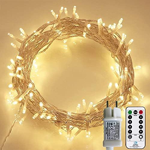 Lichterkette Außen, 12M 120 LED Lichterkette Weihnachten Netzkabel mit 8 Modi, Wasserdichte IP44 + IP67 für Weihnachtsbaum, Tannenbaum, Partys, Hochzeit Deko, Warmweiß