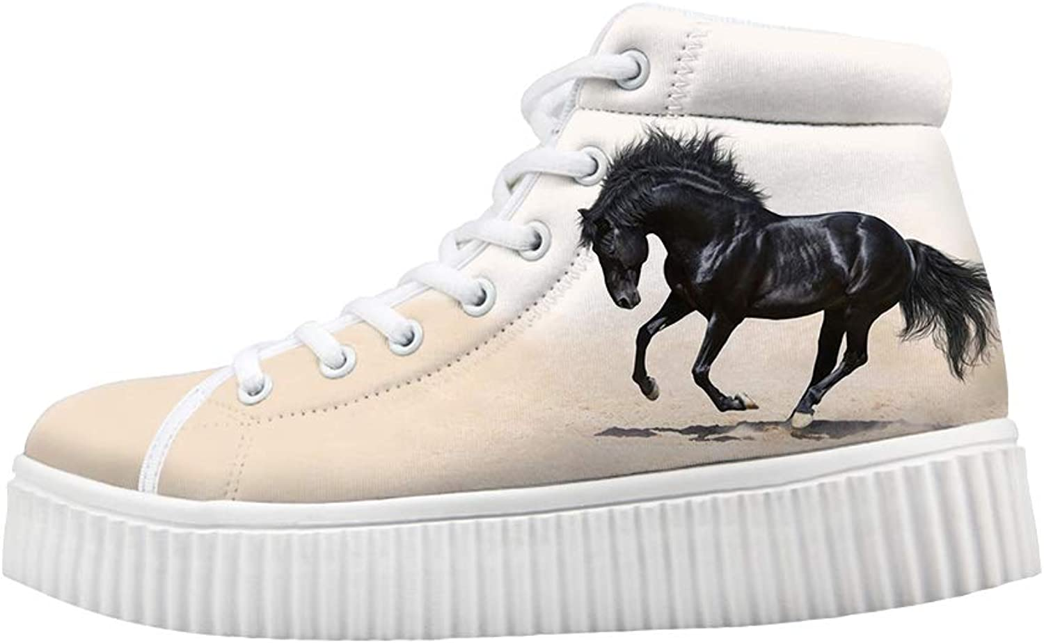Owaheson Platform Lace up Sneaker Casual Chunky Walking shoes High Top Women High Morale Purebred Steed Gallant Horse