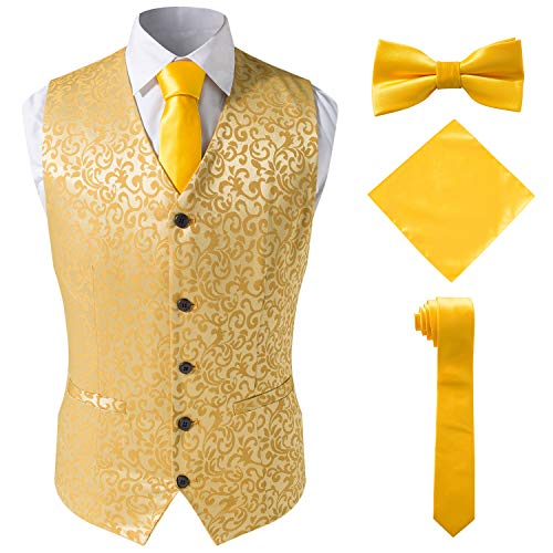 Nable Jacquard Suit Waistcoats Tuxedo Vest Gold and Tie Sets,Gold,4XL