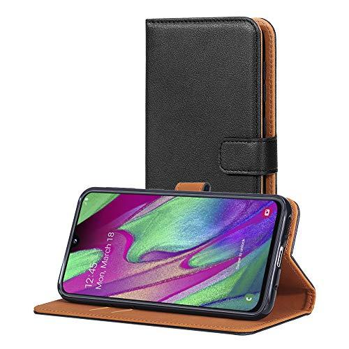 AICEK Hülle Kompatibel mit Samsung Galaxy A40, Lederhülle für Samsung Galaxy A40 Schutzhülle PU Leder Klapphülle mit Kartenfach Ständer Magnet Funktion Schwarz (5,9 Zoll)