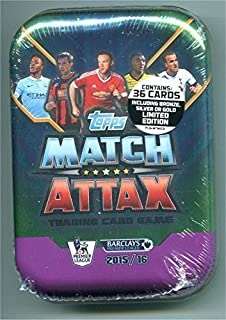 2015 / 2016 Topps Match Attax English Premier League Soccer Card Collectors Tin With 36 Cards Including a Gold, Silver or Bronze Limited Edition Card. USA Seller.