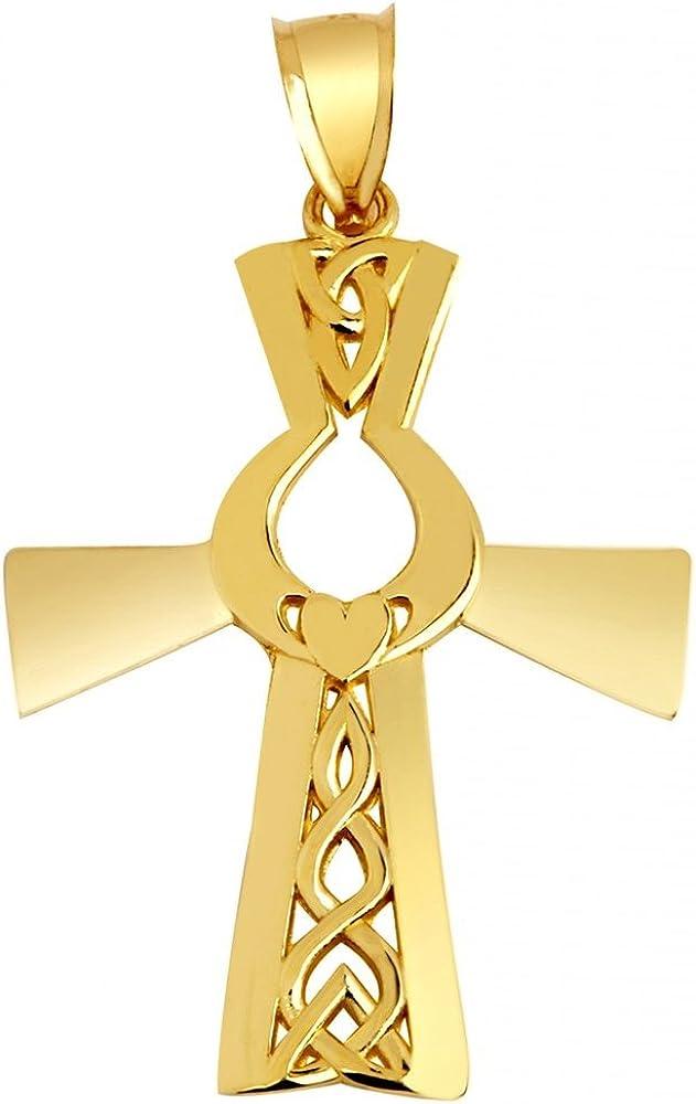 14k Yellow Gold Irish Max 90% OFF Claddagh Pendant Spasm price Cross