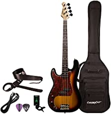 Sawtooth EP Series Left-Handed Electric Bass Guitar with Gig Bag & Accessories, Vintage Burst w/Tortoise Pickguard