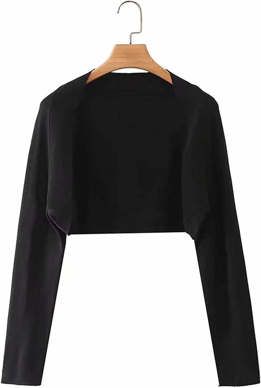 Women's Open Front Bolero Shrug Elegant Long Sleeve Knit Cropped Cardigan