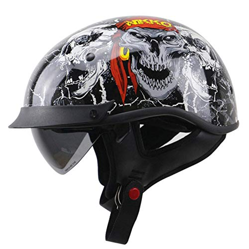 Cascos De Moto Para Hombre Y Mujer Casco Moto De Cara Abierta Retro Motocicleta Jet Casco Casco De Medio Para Moto Retro Medio Casco DOT ECE Homologado Casco Moto Jet Adulto Skull,XXL