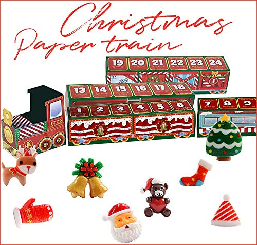 Christmas 24 Days Countdown Train Merry Advent Gifts Trains Set Toys Xmas Home Holiday Calendar Decorations Personalized Family DIY Decor Kit for Adults Kids