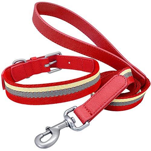 ZMJYH Collar De Perro De Nylon, Cuello De Cuero Y Collar De Correa Collar De Cachorro Reflectante Ajustable para Perros Pequeños De Tamaño Mediano,Rojo,40~50cm