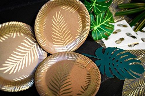 Generique - 8 Assiettes en Carton Kraft Palmier doré 23 cm