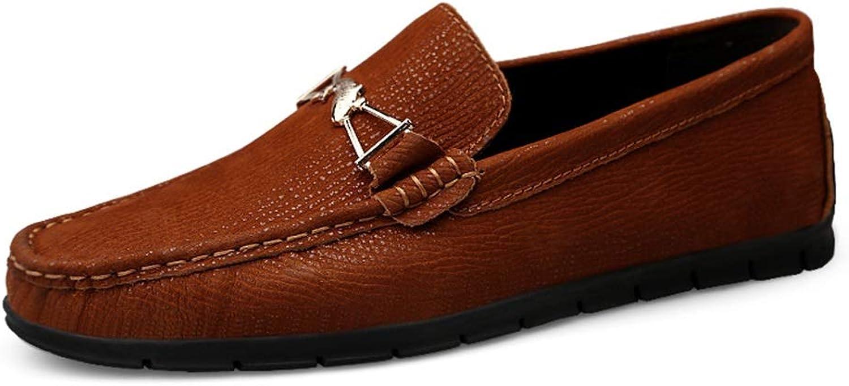 2018 men shoes Men's Casual Exquisite Metal Decoration Fashion Driving Loafers Convenient Slip On Boat Moccasins (color   Reddish brown, Size   9.5 UK)