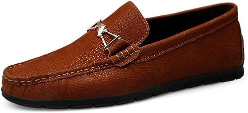 Xujw-chaussures, 2019 Chaussures Homme Homme Homme d'été Décontracté Hommes Exquise en Métal Décoration De Mode Conduite Mocassins Pratiques Glisser sur des Mocassins De Bateau (Couleur   rougedish marron, Taille   46 EU) a35