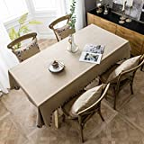 Pahajim Coton et Lin Nappe Couleur Unie Simple Moderne Nappe Lavable Cuisine de la Maison Dîner Nappe de Table Pique-Nique Décoration de la Table (Marron, Rectangulaire/Ovale, 140 x 180 cm,4-6 sièges)