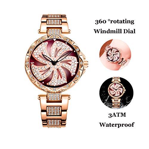 Luxe Quartz Horloges Voor Vrouwen, Mode Voor Dames Met Stalen Band Waterdicht Horloge 360 ° Rotating Windmill Diamond Vrouw Horloges, Rose Goud