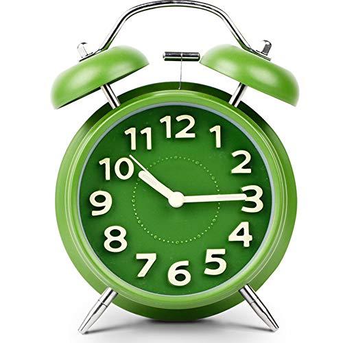 Retro Creativo Noche De Luz Reloj, Alarma Infantil Pequeño Martillo Que Golpea Ligeramente Perezoso Despertador, Ninguna Radiación Suave Luz De La Noche De Alarma,Verde
