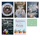 Visual Statements Grußkarten-Set; mit 5 Klappkarten - mit verschiedenen Sprüchen; schöne Spruchkarten im Set mit Umschlag; hübsche Motive - eine schöne Geschenkidee; Geburtstag