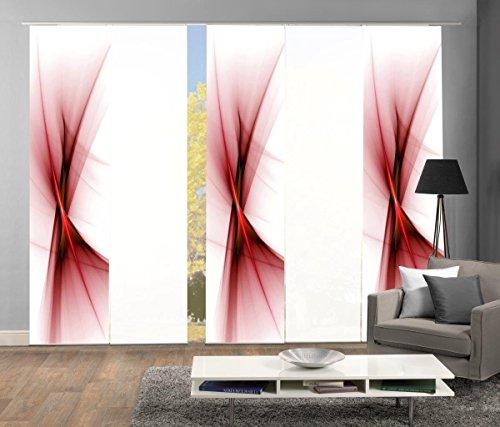 Home Fashion 95151 | 5er-Set Schiebegardinen Ola | blickdichter Dekostoff | 5X jeweils 245x60 cm | Farbe: (rot)