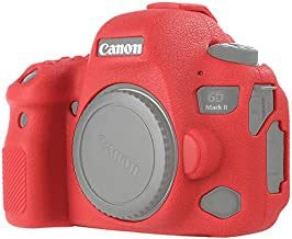 STSEETOP Canon 6D Mark II Camera Case, Professional Silicone Rubber Camera Case Cover Detachable Protective for Canon 6D Mark II (Red)
