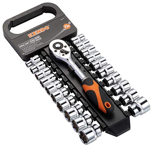 KENDO 21pcs 3/8'' Drive Ratchet Socket Wrench Set – Professional 72 Tooth Reversible Quick Release Wrench with 20 CrV Sockets - 10 SAE + 10 Metric - with Storage Rack