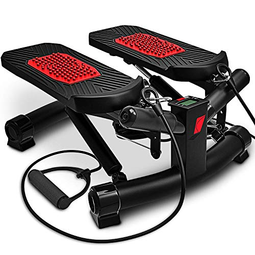 Sportstech 2in1 Twister Stepper mit Power Ropes - STX300 Modell 2021 Drehstepper & Sidestepper für Anfänger & Fortgeschrittene, Up-Down-Stepper mit Multifunktions-Display, Hometrainer Widerstand