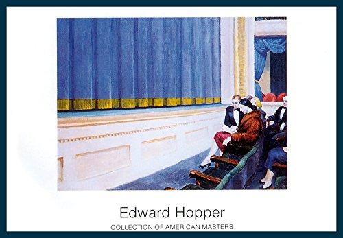 Bild mit Rahmen Edward Hopper - First Row Orchestra - Holz blau, 100 x 70cm - Premiumqualität - American Scene, Realismus, Gebäude und Architektur, Theater, Theaterstühle, Erste Reihe.. - MADE IN GERMANY - ART-GALERIE-SHOPde