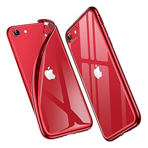 ESR Cover per iPhone SE 2020, Cover iPhone 8 7, Essential Zero Compatibile con iPhone SE 2020 8 7, TPU Morbido Trasparente, Custodia in Silicone Flessibile per iPhone SE 8 7 da 4.7 , Cornice Rosso