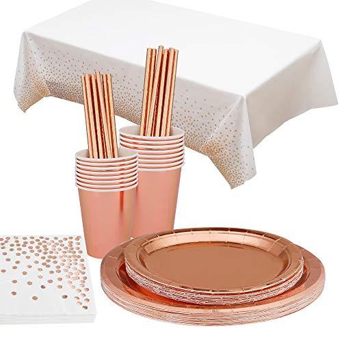 Vajilla Fiesta Oro Rosa Cubiertos Desechables Platos de Papel Tazas Pajitas Servilletas para Navidad Boda Baby Shower Aniversario 16 Invitados