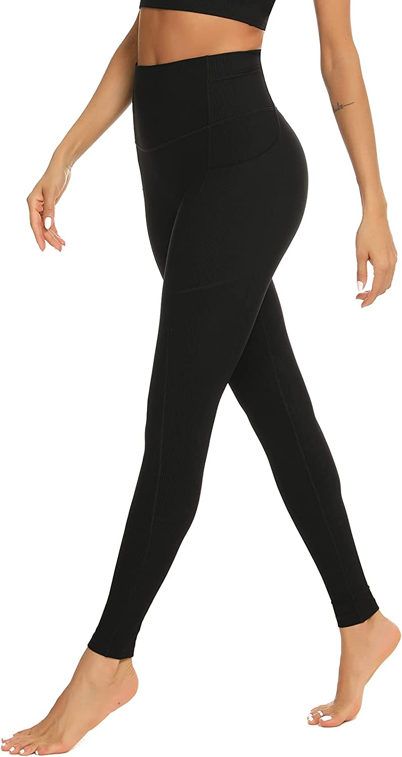 FITTIN High Waisted Leggings for Women - Ribbed Yoga Pants with