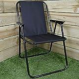 Unibos Outdoor Deck Chair Garden Patio Folding Camping Picnic Beach BBQ Party Outdoor Stripe Chair (Black)