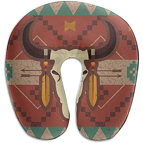 Warm-Breeze Protectores de Almohadas Diseño étnico Nativo Americano Cráneo de Toro Almohada de Cuello de Espuma de Memoria en Forma de U Almohada de Viaje