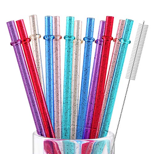 12 Pieces 11 Inches Reusable Plastic Straws for Tall Cups and Tumblers, 6 Colors BPA-Free Unbreakable Clear Glitter Sparkle Drinking Straw with 1 Cleaning Brush, Not Dishwasher Safe