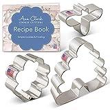 Ann Clark Cookie Cutters Juego de 3 cortadores de galletas abeja con libro de recetas, abeja, colmena y flor pequeña