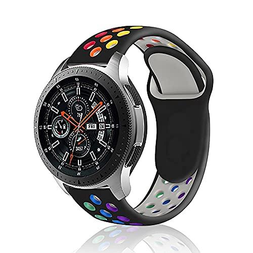 Rosok Transpirable Watch Correa Compatible con Samsung Gear S3 Frontier / Gear S3 Classic, Deportivas de Silicona Arco Iris Correas de Repuesto para Galaxy Watch 3 45mm / Watch 46mm (22mm) - Negro