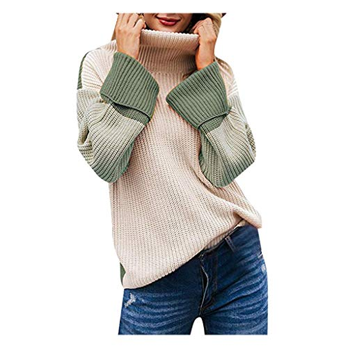 Women's Turtleneck Long Sleeve Colorblock Pullover Knit Sweater Drop Shoulder Lantern Sleeve Sweaters KLGDA Green