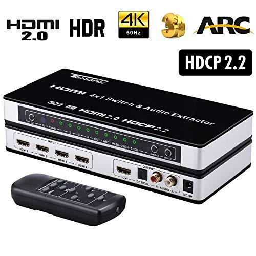 Tendak HDMI2.0切替器 セレクター 音声分離 4K@60Hz 4入力1出力 Ultra HD HDCP 2.2 ARC 3D HDMI2.0 セレク...