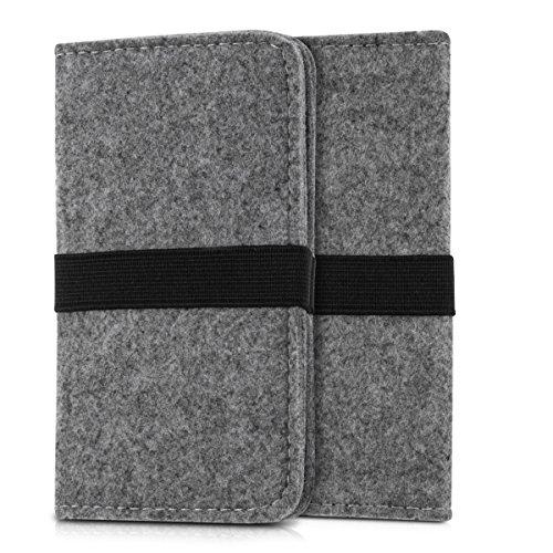 kwmobile Filz Tasche für Smartphones - mit Gummiband - Handy Filztasche Schutztasche in Grau - 16,0 x 8,0 cm Innenmaße