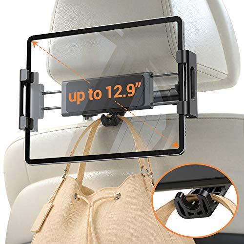 "Car Headrest Tablet Mount Holder, iPad Car Mount Bakel Headrest Tablet Holder Compatible with iPad Pro 12.9/11, Phones/Tablets/Switch 4.7""-12.9"", Headrest Posts Width 5.2in-5.7in Black"