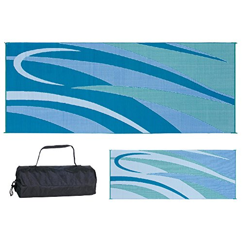 Ming's Mark GC3 Stylish Camping Reversible Graphic Patio Mat - 8' x 20', Blue/Green