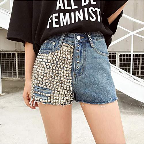DAIDAICDK Womens Zomer Herfst Hoge Taille Streetwear Punk klinknagel Hot Shorts Mode Ripped Vrouwelijke Brede Been Jeans Korte