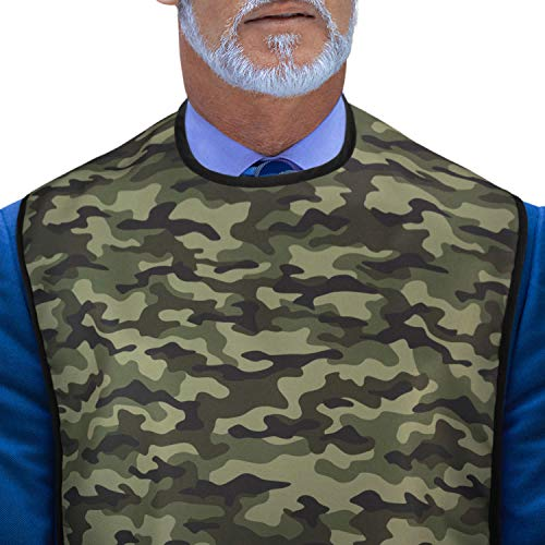 Adult Bib for Eating: Reusable Adult Size Bib for Men and Women - Washable Waterproof Clothing Protector and Crumb Catcher - Camouflage - Classic American Camo