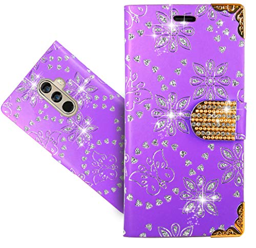 DOOGEE Mix 2 Case, CaseExpert Bling Diamond Flowers Leather Kickstand Flip Wallet Bag Case Cover for DOOGEE Mix 2