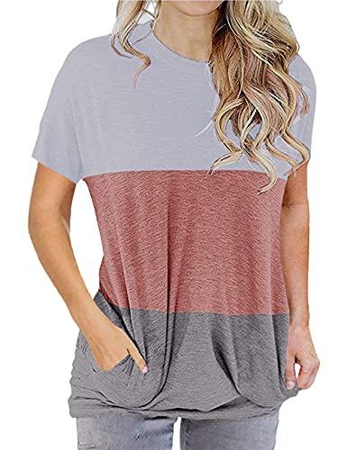 Camiseta Mujer Cómoda Suelta Ciudad Moda Cuello Redondo Manga Corta Verano Elegante Chic Vacaciones Ocio Mujeres Tops Mujer Blusa E-White XL