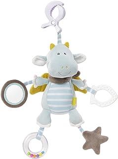 Fehn 065121 Activity-Spieltier Drache / Motorikspielzeug zum Aufhängen mit Spiegel & Ringen zum Beißen, Greifen und Geräusche erzeugen / Für Babys und Kleinkinder ab 0 Monaten