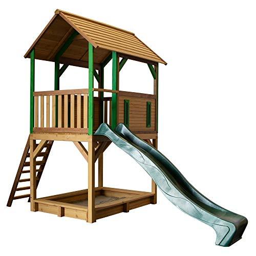 Beauty.Scouts Holzspielhaus mit Veranda + Leiter + Rutsche + Sandkasten Tabata 172x370x291cm Zedernholz Kinder Kinderspielhaus Holzhaus Stelzenhaus Unterstand