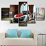 ZHONGZHONG Cuadros Modernos Impresión De Imagen Artística Digitalizada,Lienzo Decorativo para Tu Salón O Dormitorio con Marco Coches De Policía En Dubai 5 Piezas 150X80Cm