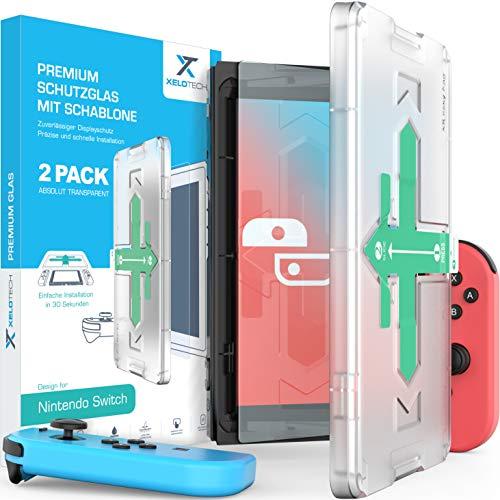 [2x Stück] Schutzglas für Nintendo Switch - Vollglas mit Schablone für perfekte Positionierung, Glas Folie, Panzerglasfolie, Displayschutzfolie, Panzerfolie