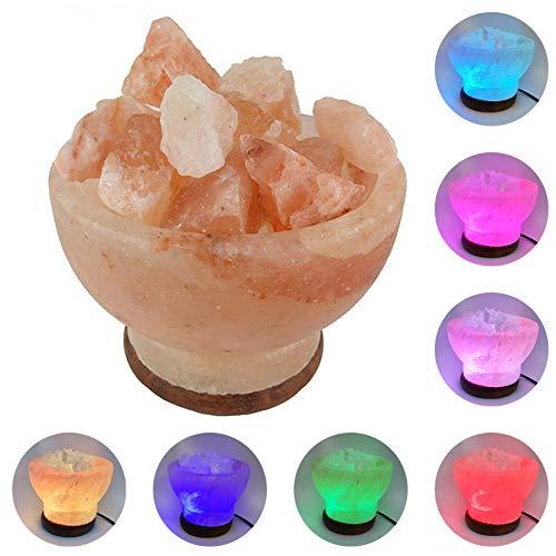 Lámpara de Sal del Himalaya Usb Led Cambia de Color Continuo Totalmente Natural (Cuenco)