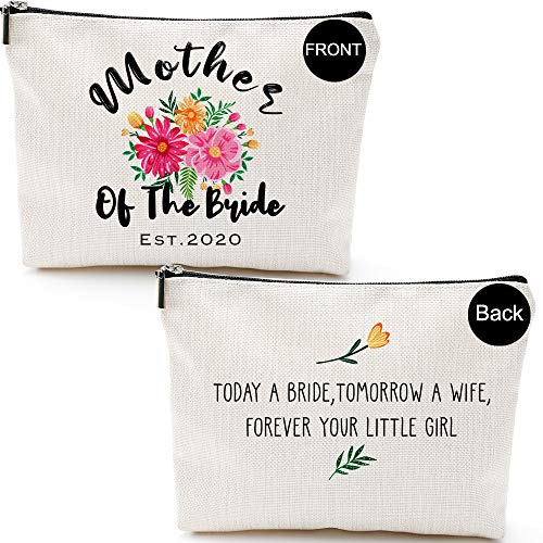 Mother of The Bride Gifts from Bride Daughter,Father of The Bride Gifts-Mother of The Groom Gifts-EST.2020-Today a Bride, Tomorrow a Wife, Forever Your Little Girl- Makeup Bag